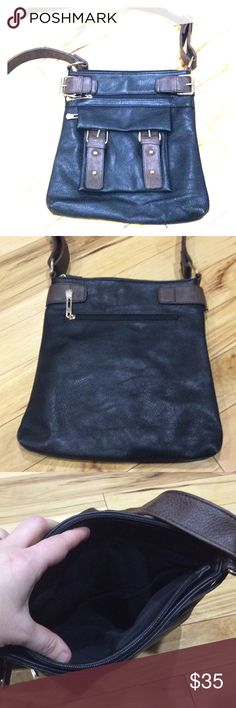 NWOT new brown black leather cross body purse nice New without tags's hot body messenger style purse black and brown leather with gold hardware very nice what to talk about frappe medium to large size non-smoking home fast delivery at an excellent price get it today Bags Crossbody Bags