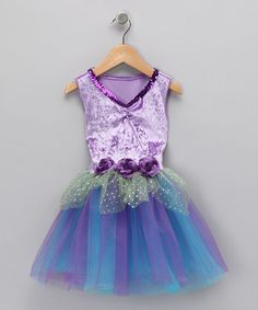 Look at this #zulilyfind! Purple & Turquoise Velvet Sequin Dress - Toddler & Girls by Princess Expressions #zulilyfinds