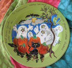 On Halloween Witches come True, Ghosts Escape from Dreams, 11 inch handpainted plate