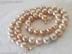 8mm Mirror Metallic Graduated Colour Lilac Round Freshwater Pearl Necklace and Earring Set