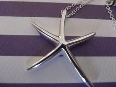 """DEAL OF THE WEEK THIS WEEK!!! ONLY $4.99!!! Be the 'Belle' of the beach. This stunning silver plated starfish pendant necklace features a gorgeous silver plated starfish on a sterling silver 18"""" chain. Get yours at www.thepreppypair.storenvy.com"""