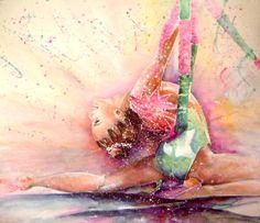 Gymnastic by Miki De Goodaboom Sports Painting - Gymnastic by Miki De Goodaboom<br> Portrait of a gymnast Gymnastics Backgrounds, Sports Painting, Glitter Graphics, Rhythmic Gymnastics, Olympic Gymnastics, Sports Art, Fantastic Art, Kids Nutrition, Shrimp Recipes