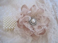 Champagne Romantic Rose Pearl Wrist Corsage by theraggedyrose, $28.00