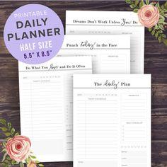 Halbe Größe Planner Seiten tägliche Planner von PrintablePineapple