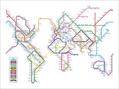 This is neat! World Map as a Tube Metro System Art Print 18x24 inch by artPause, £14.99
