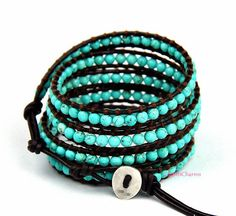 Natural Turquoise Leather Wrap Bracelet ChanL Inspired Leather Wrap Bracelet with Turquoise Stones on Black Leather Fresh Lime Wrap