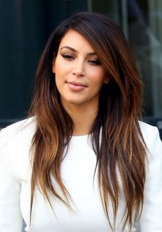 Kim Kardashian Long Hairstyles: Ombre Hairstyles for Straight Layered Hair