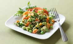 A mixture of sweet potato with asparagus, carrot, broad beans and peas bound in a creamy yogurt-based sauce. Can be served cold or warm and ideal with grilled meat or fish. Known as Salad Olivier in Russia.
