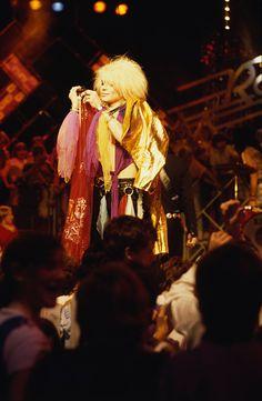Michael Monroe of Hanoi Rocks performs on a TV show London United Kingdom 1982