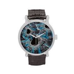 Shattered blue glass watch