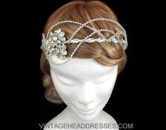 Vintage Rhinestone Strands Bridal Headpiece - Aurora Headband - Once Upon A Time Sleeping Beauty - Wedding Halo