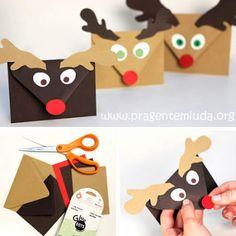 Envelopes de papel decorados com renas - PAP E MOLDE