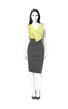 Dress With Asymmetrical Collar  - Sewing Pattern #4597 Made-to-measure sewing pattern from Lekala with free online download. Fitted, Princess seams, Waist seam, Zipper closure, V neck, Convertible collar, No sleeves, Knee length, Straight skirt