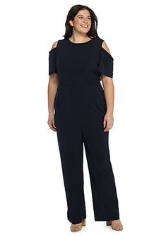 93922cb6a5 Plus size jumpsuit. For petite s Sweet flounces and thoughtful pleating  lift this figure-