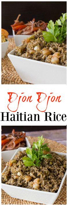 Djon Djon - Haitian Rice: A savory Haitian rice dish, deeply flavored with black mushrooms. A great addition to dinner. Side Dish Recipes, Rice Recipes, Vegan Recipes, Dinner Recipes, Cooking Recipes, Donut Recipes, Couscous, Jai Faim, Caribbean Recipes