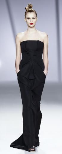 long black stretch fabric dress with side pockets - perfect lounge or casual dinner dress Juanjo Oliva.