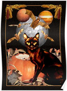 black cat,bats, Halloween card ,framed print or poster$24.70 by Valxart
