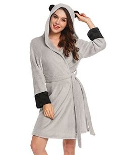 27ccbb1714 Womens Long Sleeve Animal Hooded Robe Warm Bath Robe With Belt - Gray -  Clothing