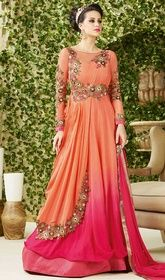 Peach and Pink Color Shaded Embroidered Georgette Gown  #anarkaligownsonlineshopping #designerindiandresses Attain a modern empress look wearing this breathtaking wearing this peach and pink color shaded embroidered georgette gown. This ravishing attire is amazingly embroidered with lace, patch, resham and stones work.   USD $ 149 (Around £ 103 & Euro 113)