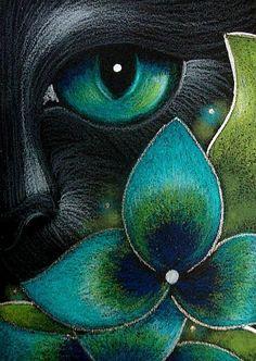 Art: BLACK CAT & HYDRANGEA FLOWERS 2 by Artist Cyra R. Cancel