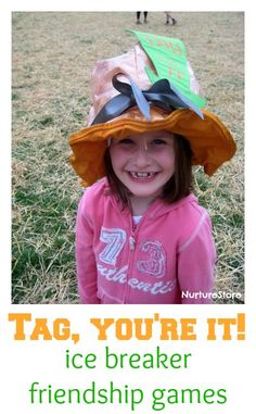 Super fun active play idea that's great for an ice breaker game at the beginning of the school year or when groups of children come together: try the Tag, I'm It! hat.