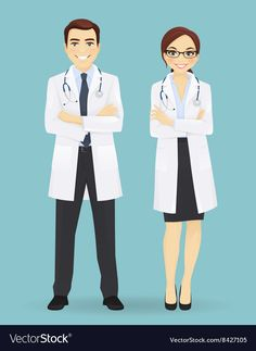 Male and female doctors isolated Royalty Free Vector Image