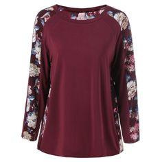 15.56$  Buy here - http://diyyj.justgood.pw/go.php?t=203419802 - Plus Size Floral Trim Raglan Sleeve T-Shirt 15.56$
