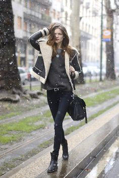 snow day. Kasia braving the elements in Acne shearling in Paris. #KasiaStruss