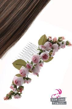Haarband Blumen Haarreif geflochten Rosen Trachten Stirnband Boheme Rot Blüten