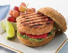 "Salmon Burgers  Olive oil spray  1 lb skinless salmon fillet, cut into 1"" cubes  1 tablespoon Dijon mustard  1 tablespoon peeled and minced fresh ginger  1 tablespoon chopped fresh cilantro  1 teaspoon low-sodium soy sauce  ½ teaspoon ground coriander  Salt, to taste  Ground black pepper, to taste"