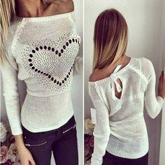 Pull avec amour impression découpes nœud papillon attacher mode blanc
