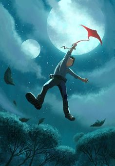 He couldn't free his wrist and the kite soared towards the largest of two moons....
