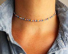 Key Necklace / Diamond Key Pendant / Diamond Necklace / Dainty Key Charm Necklace / Gold Key Necklace / Diamond Key Charm / Gift for her Item Details Beaded Chocker, Beaded Choker Necklace, Seed Bead Necklace, Seed Bead Jewelry, Diy Necklace, Cute Jewelry, Beaded Bracelets, Blue Choker, Bead Necklace Designs