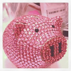 pink bejeweled piggy bank