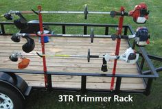 Landscape Trailer Organization holds and locks 3 trimmers to open or enclosed trailer When sear Lawn Trailer, Landscape Trailers, Round Above Ground Pool, Jungle Jim's, Trailer Organization, Landscaping Tools, Light Fixtures Bathroom Vanity, Baths Interior, Rack Design