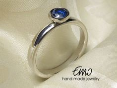 Sapphire Sterling Silver Ring Solitaire Ring  Stackable Ring  Statement Ring Promise Ring
