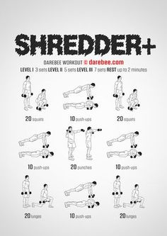 Shredder Plus is a total body strength workout by Darebee. Boxer Workout, Hitt Workout, Calisthenics Workout, Aerobics Workout, Gym Workout Tips, Dumbbell Workout, At Home Workouts, Extreme Workouts, Easy Daily Workouts