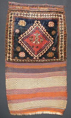 ca.1900 Amazing Wonderful Old Antique Kashqai Bag 3.7x2 ft