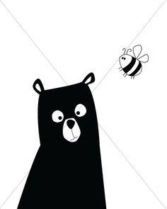 Bear Nursery Print Bear with Bee Bear Art Black and by EVEprints