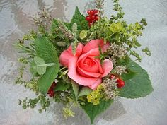 herbal tussie mussie, victorian bouquet, al l the herbs have meanings