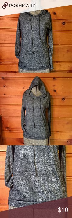 Hooded Long Sleeve Shirt Ginger G💥This a textured Gray Long Sleeve Top w/ Hood and Pull String. The material feels soft, silky, and stretchy. Made of 65% Rayon and 35% Polyester. Says size medium in juniors but listed as a juniors small Bc this too runs on the smaller side. This top is very gently used and like new. Excellent Condition. Bundle 2 or more listings for 15% off Discount! Ginger G Tops Tees - Long Sleeve