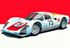 1966 Porsche type 906 Carrera Competition Coupé.  The 906 was immediately successful on track - in its debut in the 1966 24 Hours of Daytona, the number 15 car finished 6th overall, and won its class against Ferrari Dino 206 Ps.  At the 12 Hours of Sebring, Hans Herrmann/Gerhard Mitter finished fourth overall and won the class, as at the 1000 km of Monza.  At the 1966 24 Hours of Le Mans, the 906 placed 4-5-6-7 behind three Ford GT40 Mk IIs.  Artwork by Arthur Schening