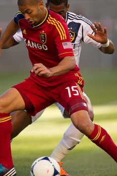 RSL's Alvaro Saborio moves the ball as Real Salt Lake hosts the L.A. Galaxy at Rio Tinto Stadium on Wednesday, June 20, 2012, in Sandy. (Trent Nelson  |  The Salt Lake Tribune)