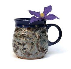 Pottery Mug Flowers Ceramic Cup Pottery Mug by MMceramicdesign