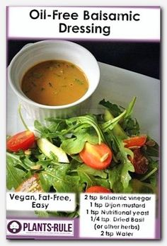 Here is an easy, quick oil-free recipe for Balsamic dressing. Nutritional yeast and mustard help create low-calorie, low-fat creaminess. Use this simple recipe on a plant-based salad, marinated vegan mushrooms, or drizzle on grilled vegetarian tofu. Healthy Recipes, Whole Food Recipes, Vegetarian Recipes, Healthy Cooking, Vegan Meals, Low Fat Vegan Recipes, Cooking Recipes, Vegan Keto, Vegan Foods