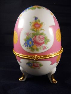 Large 3 Footed Limoges Egg Shaped Lidded Trinket by DoodahsAttic, $42.00