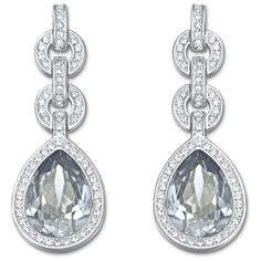 Add a subtle blue shimmer with this exquisite pair of pierced earrings. Each earring features a Crystal Blue Shade drop framed in crystal pavé. Chain links embellished with clear crystal pavé add a trendy touch to this classic, rhodium-plated design. Bridesmaid Earrings, Wedding Earrings, Women's Earrings, Pierced Earrings, Swarovski Jewelry, Swarovski Crystals, Bling Wedding, Rustic Wedding, Plaque