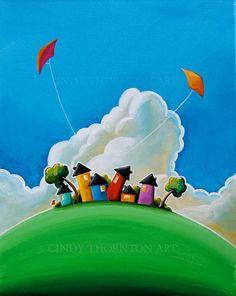 """Gather 'Round""  Original Canvas Painting  - #CindyThornton Art #houses #art"