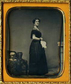 Rare sixth plate daguerreotype of a gorgeous damsel standing at attention in a full body profile pose, wearing an elegant black lace gown with hands clasped and held across her waist - elbows out. It's a very elegant and royal pose. | eBay!