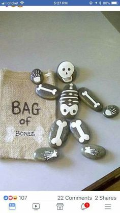 Bag of bones painted rocks. Wäre tatsächlich eine lustige Art, die Kno… Bag of bones painted rocks. Would actually be a fun way to name the bones! Stone Crafts, Rock Crafts, Fall Crafts, Craft Projects, Crafts For Kids, Arts And Crafts, Project Ideas, Halloween Rocks, Halloween Crafts